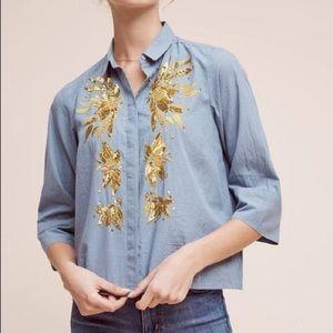 Maeve Anthropologie Gold Sequin Blue Stripe Blouse